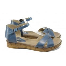 Дамски сандали - естествена кожа - сини - EO-10762