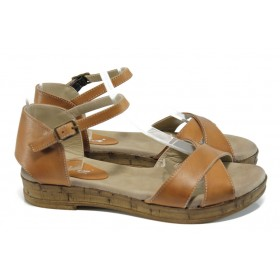 Дамски сандали - естествена кожа - кафяви - EO-10761