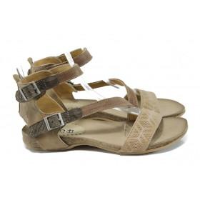 Дамски сандали - естествена кожа - бежови - EO-10803