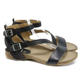 Дамски сандали - естествена кожа - черни - EO-10804