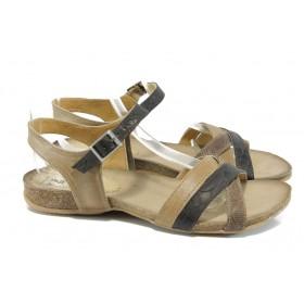Дамски сандали - естествена кожа - бежови - EO-10805