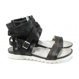 Дамски сандали - естествена кожа - черни - EO-10801