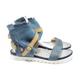Дамски сандали - естествена кожа - сини - EO-10800