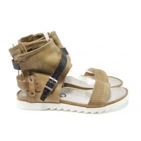 Дамски сандали - естествена кожа - бежови - EO-10802