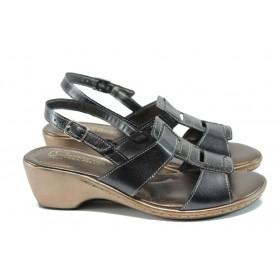 Дамски сандали - естествена кожа с естествен лак - черни - EO-10799