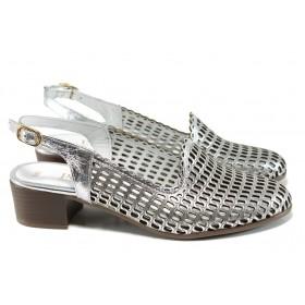 Дамски обувки на среден ток - естествена кожа - сребро - EO-10810