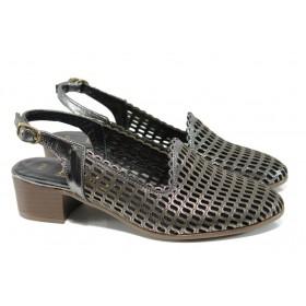Дамски обувки на среден ток - естествена кожа - сиви - EO-10809