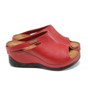 Дамски чехли - естествена кожа - червени - EO-10807