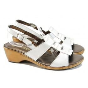 Дамски сандали - естествена кожа с естествен лак - бели - EO-10813