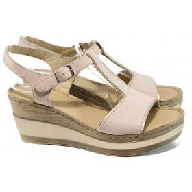 Дамски сандали - естествена кожа - розови - EO-10814