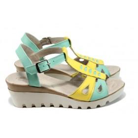 Дамски сандали - естествена кожа - жълти - EO-10821