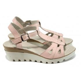 Дамски сандали - естествена кожа - розови - EO-10822