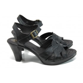Дамски сандали - естествена кожа - черни - EO-10820