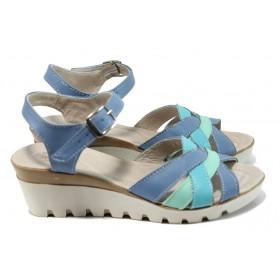 Дамски сандали - естествена кожа - сини - EO-10818