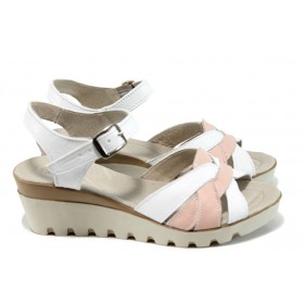 Дамски сандали - естествена кожа - бели - EO-10819