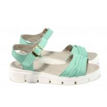Дамски сандали - естествена кожа - зелени - EO-10817