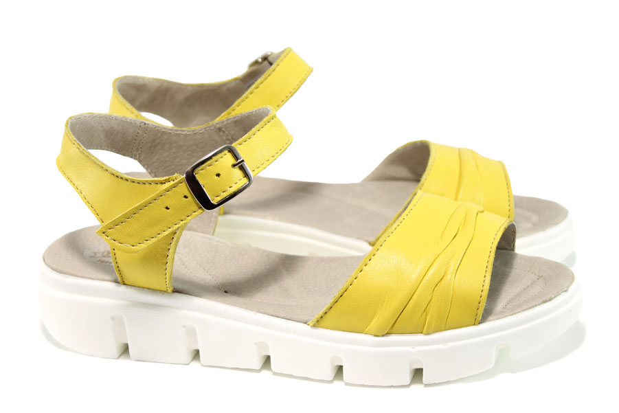 Дамски сандали - естествена кожа - жълти - EO-10816