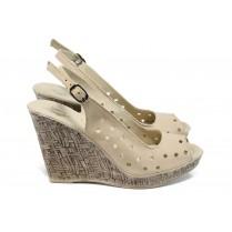 Дамски сандали - естествена кожа - бежови - EO-10823