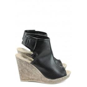 Дамски сандали - естествена кожа - черни - EO-10825