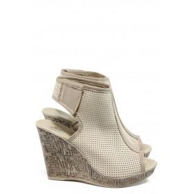 Дамски сандали - естествена кожа - бежови - EO-10824