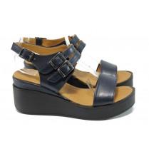 Дамски сандали - естествена кожа - сини - EO-10842