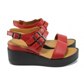 Дамски сандали - естествена кожа - червени - EO-10841