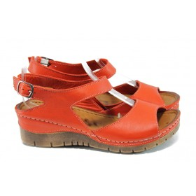 Дамски сандали - естествена кожа - червени - EO-10838
