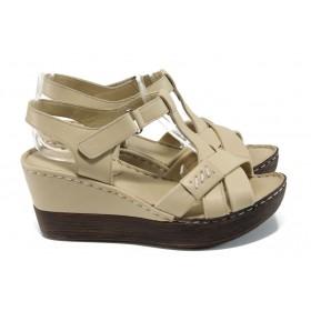 Дамски сандали - естествена кожа - бежови - EO-10840