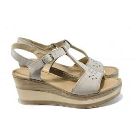 Дамски сандали - естествена кожа - бежови - EO-10899