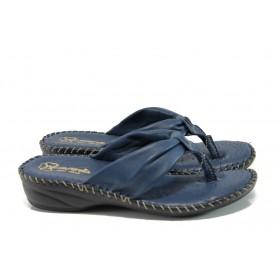 Дамски чехли - естествена кожа - сини - EO-10904
