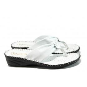 Дамски чехли - естествена кожа - бели - EO-10905