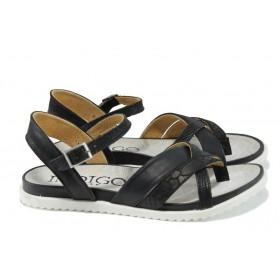 Дамски сандали - естествена кожа - черни - EO-10898
