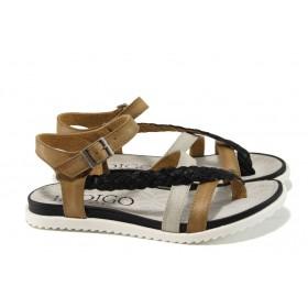 Дамски сандали - естествена кожа - бежови - EO-10907