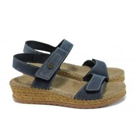 Дамски сандали - естествена кожа - сини - EO-10901