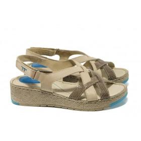 Дамски сандали - естествена кожа - бежови - EO-10908