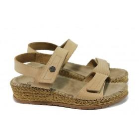 Дамски сандали - естествена кожа - бежови - EO-10903