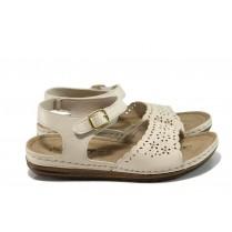 Дамски сандали - висококачествена еко-кожа - бежови - EO-10912