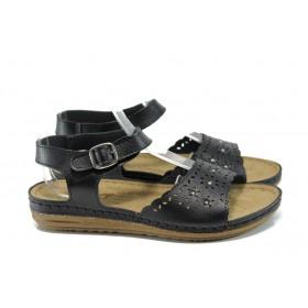Дамски сандали - висококачествена еко-кожа - черни - EO-10913