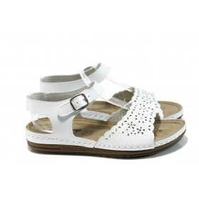 Дамски сандали - висококачествена еко-кожа - бели - EO-10914