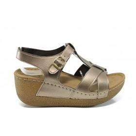 Дамски сандали - висококачествена еко-кожа - жълти - EO-10911