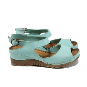 Дамски сандали - естествена кожа - зелени - EO-10924