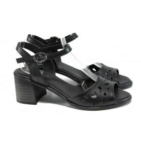 Дамски сандали - естествена кожа - черни - EO-10928