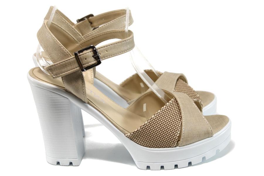 Дамски сандали - естествена кожа - бежови - EO-10930