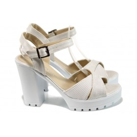 Дамски сандали - естествена кожа - бели - EO-10929