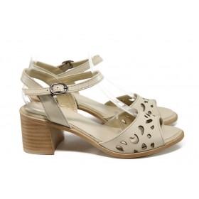 Дамски сандали - естествена кожа - бежови - EO-10926