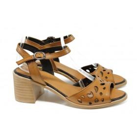 Дамски сандали - естествена кожа - кафяви - EO-10927