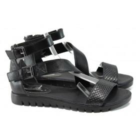 Дамски сандали - естествена кожа - черни - EO-10931