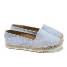 Равни дамски обувки - висококачествен текстилен материал - светлосин - EO-10940