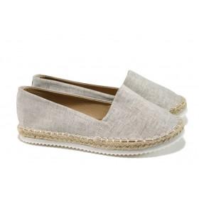 Равни дамски обувки - висококачествен текстилен материал - сиви - EO-10941