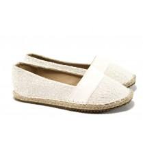 Равни дамски обувки - висококачествен текстилен материал - бели - EO-10938